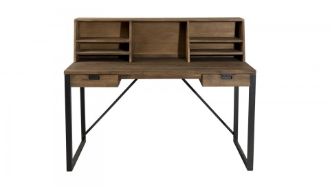 Gøran - Bureau 2 tiroirs bois et métal avec étagères