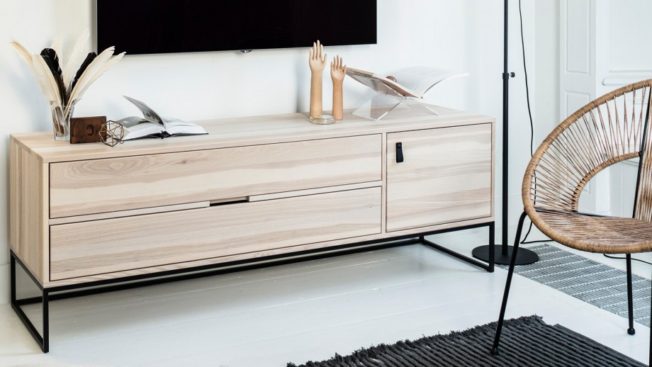 Meuble TV en frêne brossé – Collection Sydney