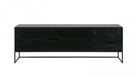 Meuble TV en chêne brossé noir - Collection Silas - Woood