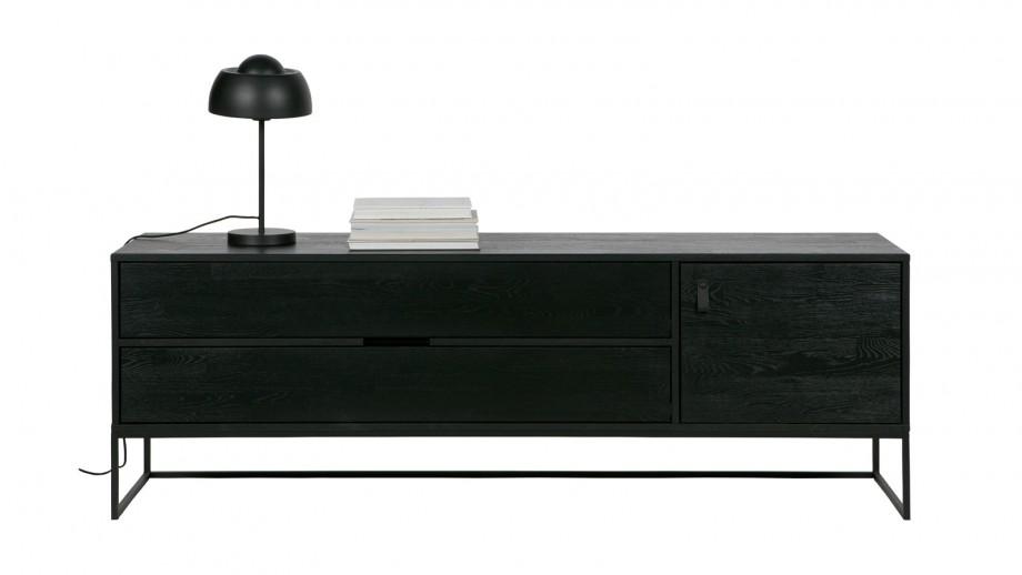 Meuble TV en chêne brossé noir – Collection Silas