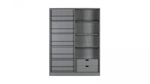 Dressing en pin avec étagères, tiroirs et portes coulissantes - Collection Swing - Woood