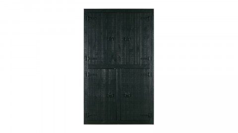 Armoire 4 portes en pin massif noir - Collection Roos - Vtwonen