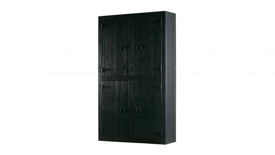 Armoire 4 portes en pin massif noir – Collection Roos