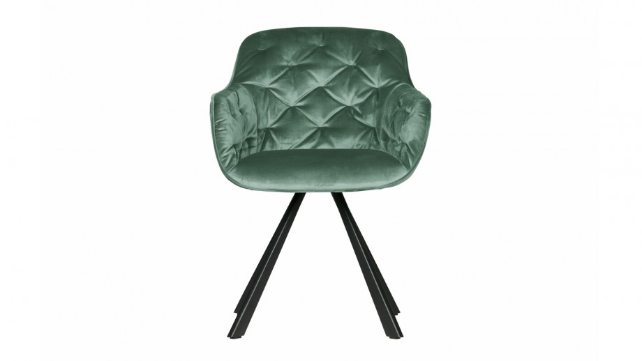 Chaise en velours vert d'eau – Collection Elaine