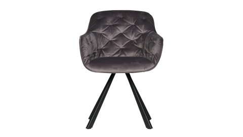 Chaise en velours anthracite - Collection Elaine - Woood