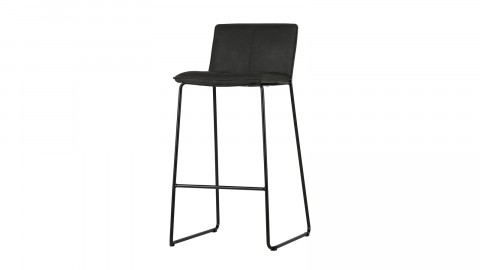 Lot de 2 tabourets de bar en simili cuir noir – Collection Evan