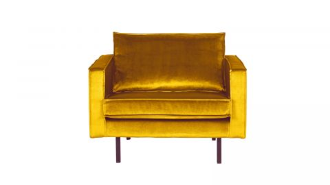 Fauteuil en velours ocre - Collection Rodéo - BePureHome