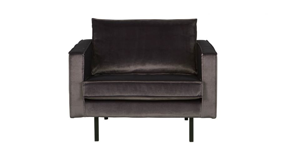 Fauteuil en velours gris anthracite – Collection Rodeo