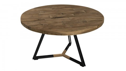 Gøran - Table basse ronde pieds noirs 75 x 75 cm