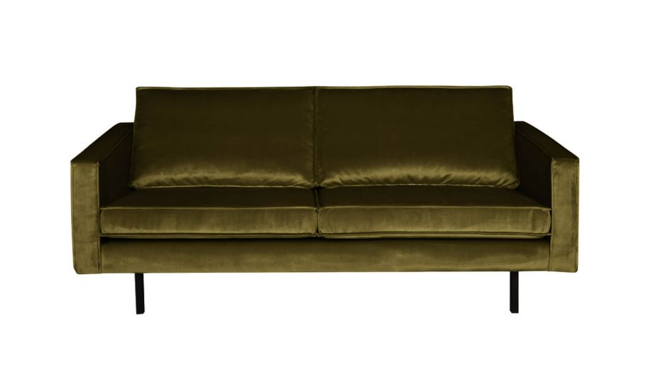Canap 2 5 places en velours vert olive collection rodeo for Canape velours vert