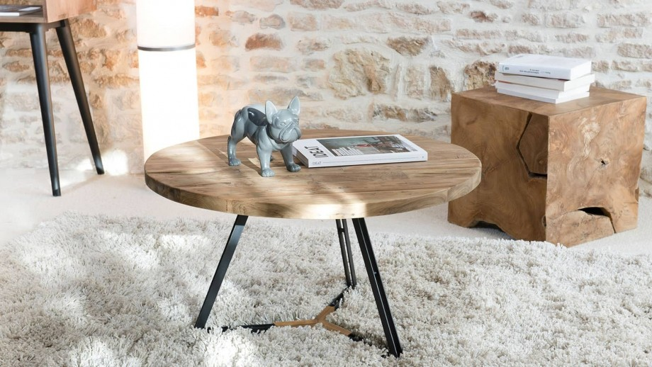 Gøran - Table basse ronde pieds noirs 75 x 75 cm
