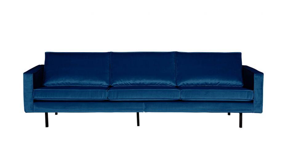 Canap 3 places en velours bleu nuit collection rodeo for Canape velours bleu