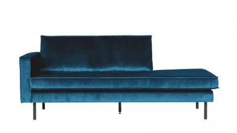 Canapé méridienne gauche en velours bleu – Collection Rodeo