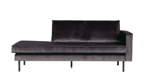 Canapé méridienne droite en velours gris anthracite – Collection Rodeo