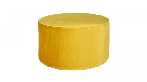 Pouf bas rond en Velours ocre – Collection Sara – Woood