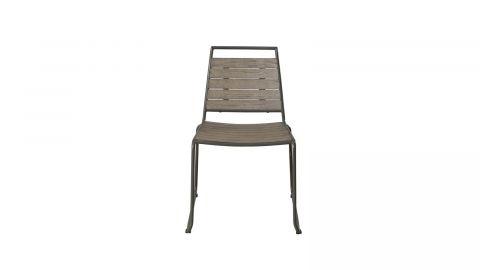 Lot de 2 chaises de jardin empilables en teck et métal – Collection Emilie