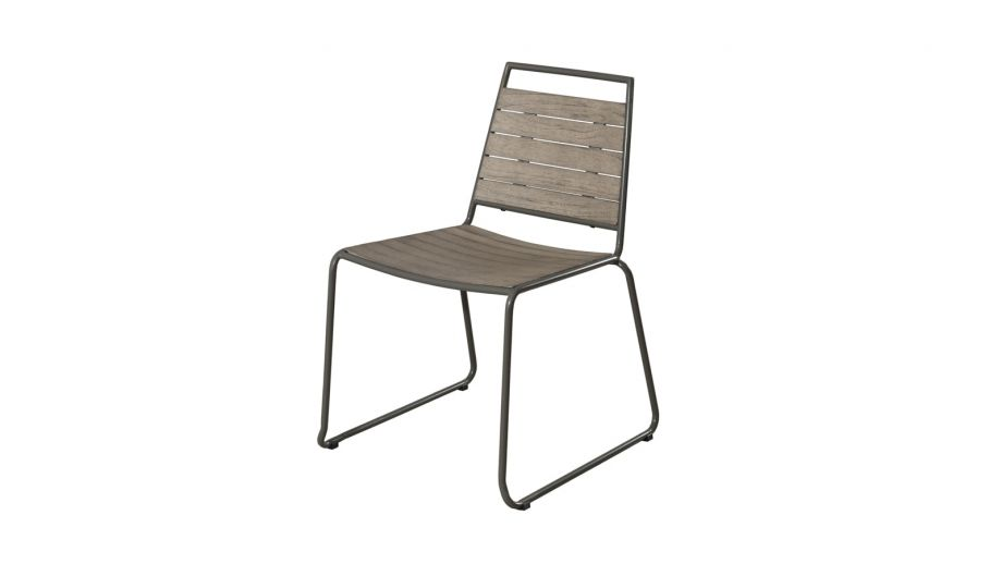 Lot de 2 chaises empilables en teck et métal – Collection Emile