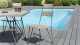 Ensemble de 2 chaises de jardin scandinaves en bois teck teinté grisé et métal - Collection Emilie