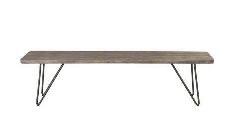 Banc de jardin en bois teck teinté grisé et pieds scandinaves - Collection Emilie