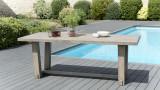Table de jardin 6/8 personnes - rectangulaire en bois teck teinté grisé - Collection Emilie