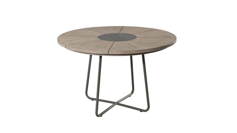 Table à manger ronde en teck pieds en métal – Collection Emile