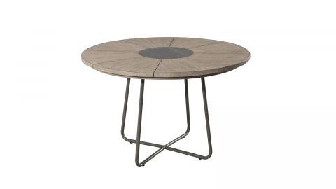 Table de jardin ronde en teck pieds en métal – Collection Emilie