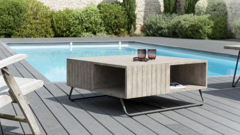 Table basse de jardin en bois Teck teinté grisé et pieds en métal - Collection Emilie