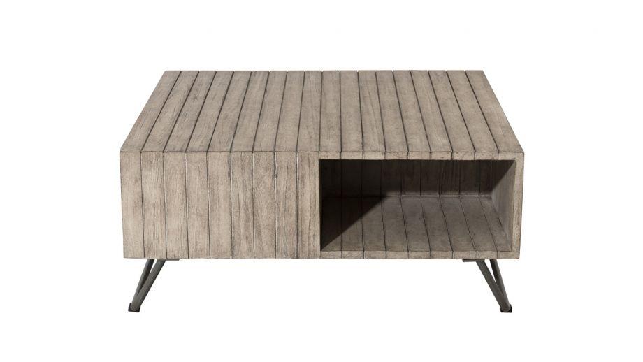 Table basse de jardin carrée en teck, pieds en acier – Collection Emile