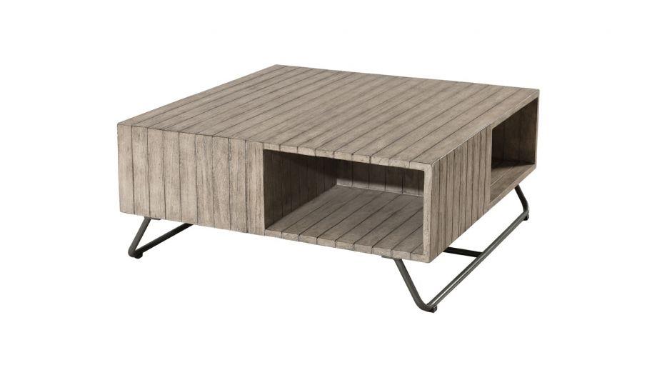 Table basse carrée en teck, pieds en acier – Collection Emile