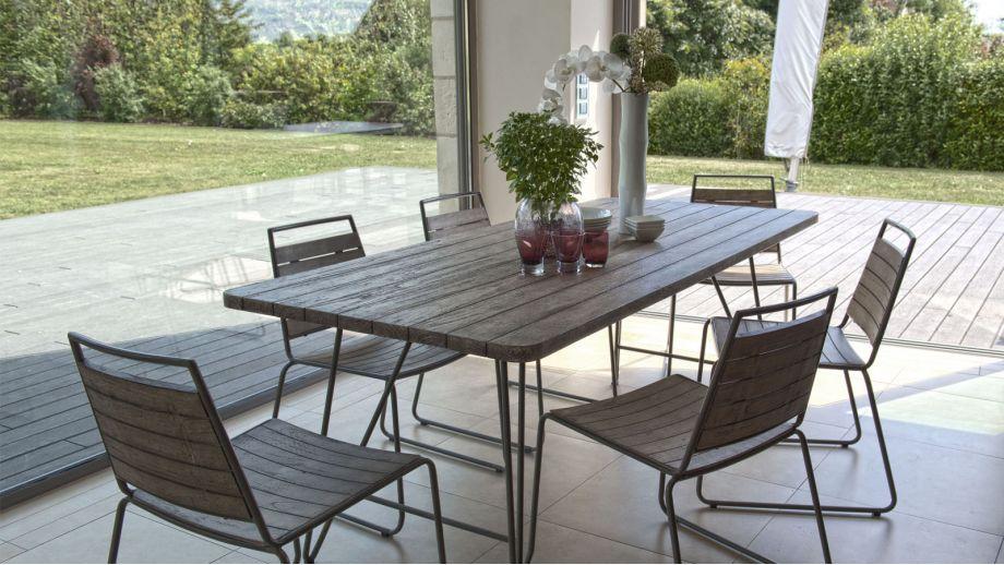 Salon de jardin en teck et métal 6 places - Collection Tupai