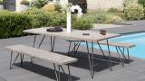 Salon de jardin 1 table et 2 bancs en teck et métal - Collection Lanai