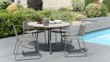 Salon de jardin en teck et métal 4 places - Collection Minorque
