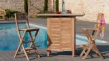 Chaise de bar de jardin pliante en teck – Collection Fun