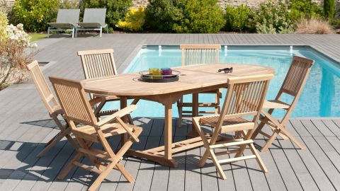 Table de jardin ovale extensible 180/240x100cm – Collection Fun