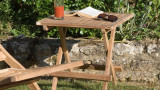 Table de jardin carrée en teck – Collection Fun