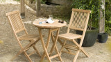 Table de jardin 2 personnes, ronde pliante 60 x 60 cm en bois Teck - Collection Fun