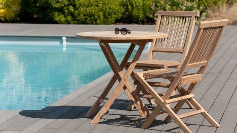 Table ronde pliante en teck ?80cm – Collection Fun