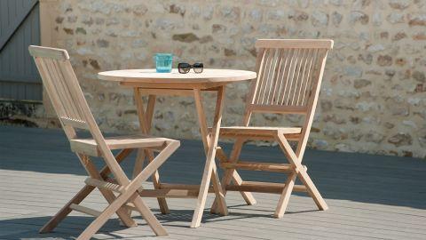 Table ronde de jardin pliante en teck -80cm – Collection Fun