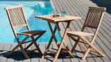 Table de jardin 2 personnes, carrée pliante 60 x 60 cm en bois Teck - Collection Fun