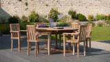 Lot de 2 fauteuils de jardin empilables en teck – Collection Fun