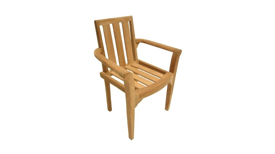 Lot de 2 fauteuils empilables en teck – Collection Fun