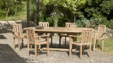 Ensemble de 2 fauteuils de jardin empilables en bois Teck - Collection Fun