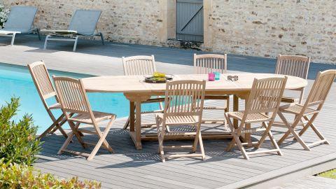 Table ovale double extension en teck 200/300x120cm – Collection Fun