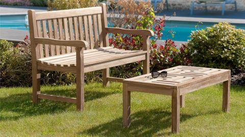 Table basse de jardin 100x50cm en teck – Collection Fun