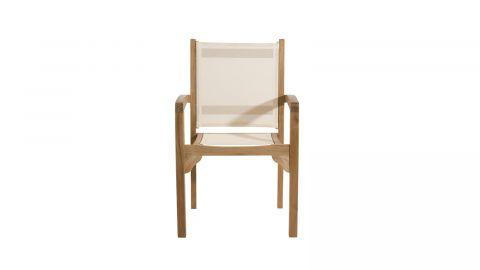 Lot de 2 fauteuils de jardin en teck et tissu ivoire – Collection Fun