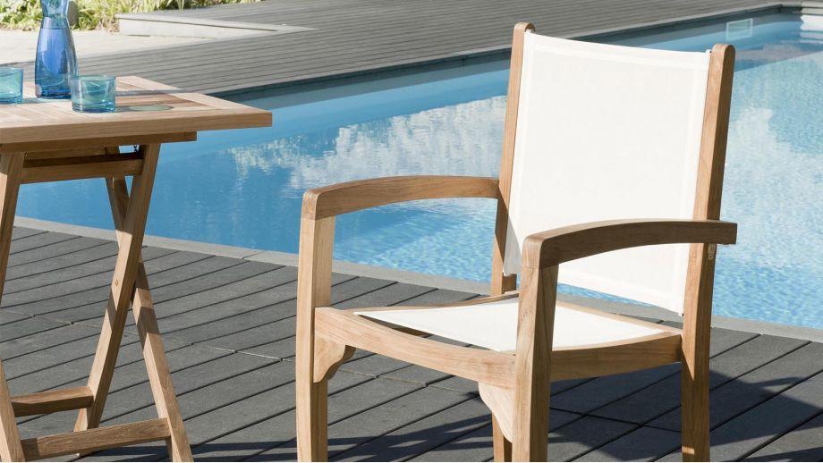 Lot de 2 fauteuils en teck et tissu ivoire – Collection Fun