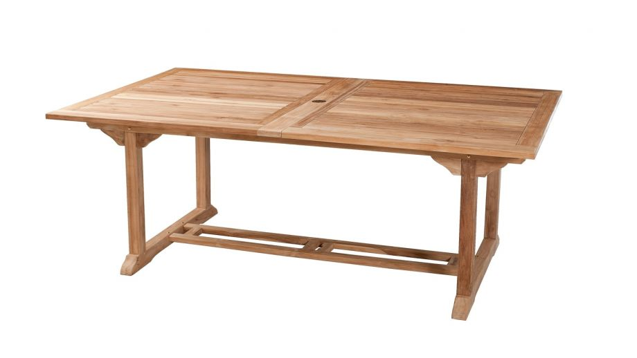 Table rectangulaire double extension en teck 200/300x120cm – Collection Fun