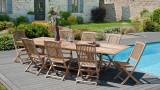 Table de jardin rectangulaire double extension en teck 200/300x120cm – Collection Fun