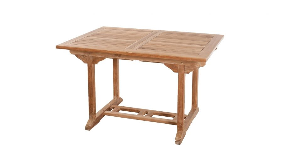 table rectangulaire extensible en teck 120 180x90 cm collection fun homifab. Black Bedroom Furniture Sets. Home Design Ideas