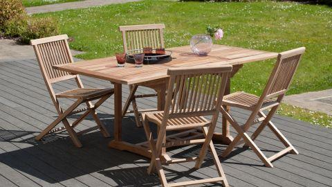 Table de jardin 4/6 personnes - rectangulaire extensible 120/180 x 90 cm en bois Teck - Collection Fun